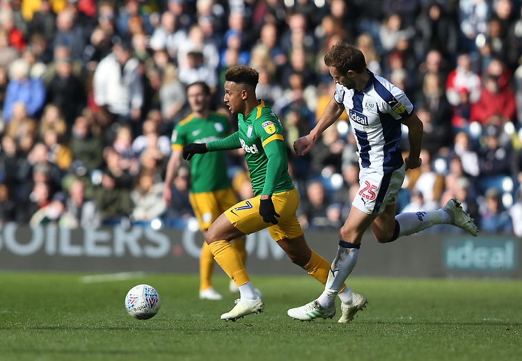 Preston North End's Callum Robinson chased by West Bromwich Albion's Craig Dawson<br /> <br /> Photographer Stephen White/CameraSport<br /> <br /> The EFL Sky Bet Championship - West Bromwich Albion v Preston North End - Saturday 13th April 2019 - The Hawthorns - West Bromwich<br /> <br /> World Copyright © 2019 CameraSport. All rights reserved. 43 Linden Ave. Countesthorpe. Leicester. England. LE8 5PG - Tel: +44 (0) 116 277 4147 - admin@camerasport.com - www.camerasport.com