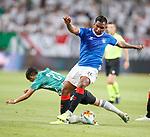 22.08.2019 Legia Warsaw v Rangers: Alfredo Morelos and Andre Martins