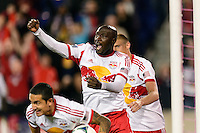 Ibrahim Sekagya (32) of the New York Red Bulls celebrates scoring during the second half against the Chicago Fire. The New York Red Bulls defeated the Chicago Fire 5-2 during a Major League Soccer (MLS) match at Red Bull Arena in Harrison, NJ, on October 27, 2013.