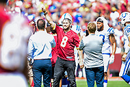 Landover, MD - September 16, 2018: Washington Capitals Alex Ovechkin on the field for the coin toss before game between the Indianapolis Colts and the Washington Redskins at FedEx Field in Landover, MD. The Colts defeated the Redskins 21-9.(Photo by Phillip Peters/Media Images International)
