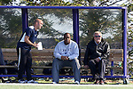 21 October 2012: Penn State head coach Bob Warming (right) with assistants Bo Oshoniyi (center) and Chad Duernberger. The Northwestern University Wildcats played the Penn State University Nittany Lions at Lakeside Field in Evanston, Illinois in a 2012 NCAA Division I Men's Soccer game. Penn State won the game 1-0 in golden goal overtime.
