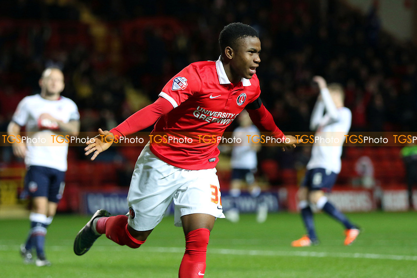 Ademola Lookman celebrates scoring Charlton's opening goal during Charlton Athletic vs Bolton Wanderers at The Valley