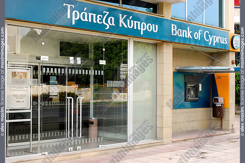 Editorial stock photo of a Bank of Cyprus branch on a Limassol city street Cyprus 2007