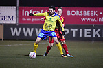 2018-03-03 / Voetbal / Seizoen 2017-2018 / Ternesse - Leopoldsburg / Thomas Stevens (Ternesse) met Jentl Vankrunkelsven (r.)<br /> <br /> ,Foto: Mpics.be