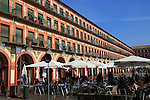 Historic buildings, Plaza de Corredera seventeenth century colonnaded square, Cordoba, Spain