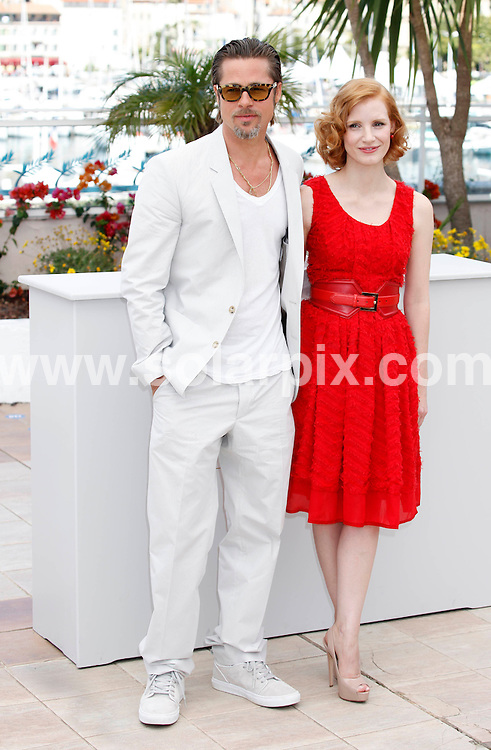 **ALL ROUND PICTURES FROM SOLARPIX.COM**                                             **UK AND SPAIN SYNDICATION RIGHTS ONLY**                                                                                  Caption: Tree of Life photocall during the 64th Cannes Film Festival, Cannes, France. 16 May 2011                                                                               This pic: Brad Pitt, Jessica Chastain                                                                             JOB REF: 13350 CPR Heinz      DATE: 16_05_2011                                                           **MUST CREDIT SOLARPIX.COM OR DOUBLE FEE WILL BE CHARGED**                                                                      **MUST AGREE FEE BEFORE ONLINE USAGE**                               **CALL US ON: +34 952 811 768 or LOW RATE FROM UK 0844 617 7637**