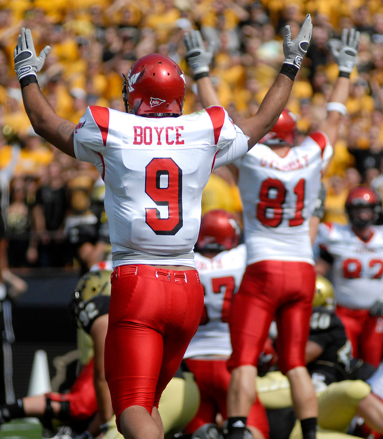 06 September 08: Eastern Washington receiver Aaron Boyce (9) and tight end Nathan Overbay (81) celebrate an Eagles touchdown against Colorado. The Colorado Buffaloes defeated the Eastern Washington Eagles 31-24 at Folsom Field in Boulder, Colorado. FOR EDITORIAL USE ONLY