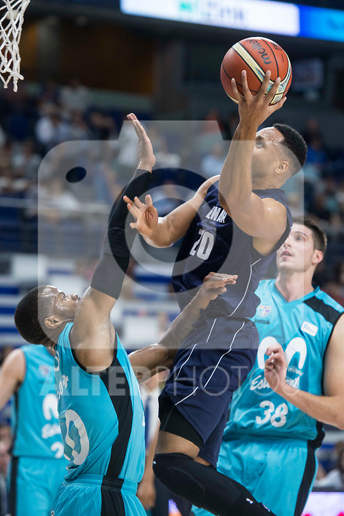 Movistar Estudiantes Omar Cook and Donar Groningen Brandyn Curry during Basketball Champions League match between Movistar Estudiantes and Donar Groningen at Wizink Center in Madrid, Spain October 02, 2017. (ALTERPHOTOS/Borja B.Hojas)