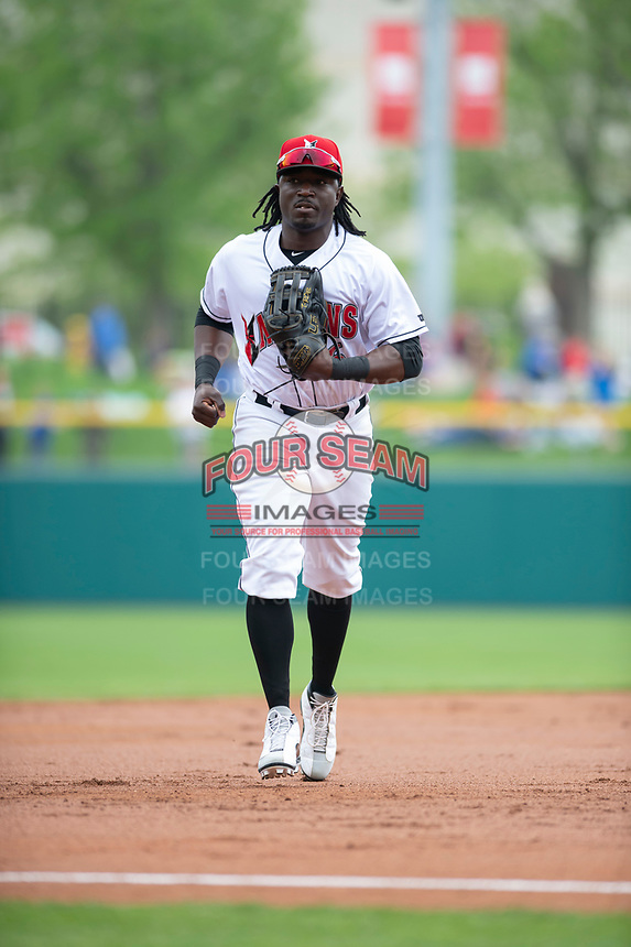 Indianapolis Indians center fielder Trayvon Robinson (6) jogs off the field between innings of an International League game against the Columbus Clippers on April 30, 2019 at Victory Field in Indianapolis, Indiana. Columbus defeated Indianapolis 7-6. (Zachary Lucy/Four Seam Images)