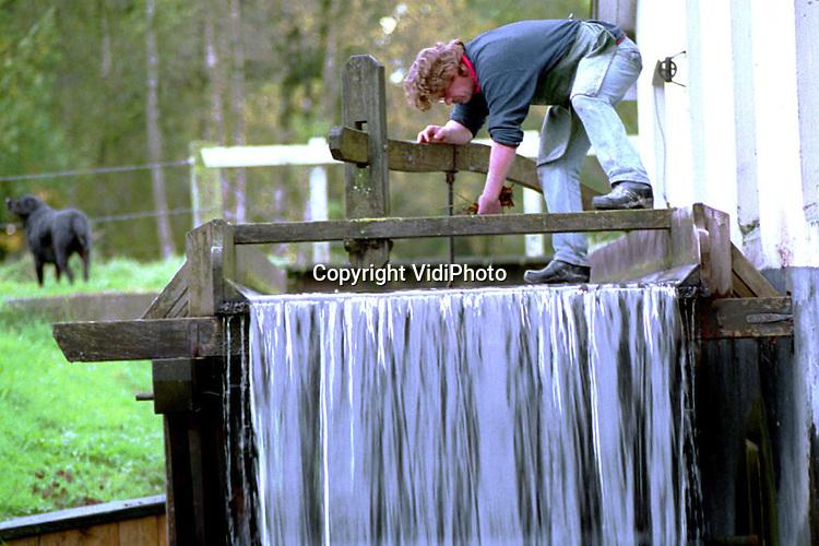 Foto: VidiPhoto..LOENEN - De oudste nog in bedrijf zijnde papierwatermolen van Nederland, De Middelste Molen in Loenen op de Veluwe (1622), moet uitbreiden. In de papiermolen wordt nog op de ouderwetse wijze de papierpulp met de hand geschept. Het resultaat is speciaal aquarelpapier. De lange vezels zorgen voor minder hobbels, waardoor het vrij kostbare eindproduct enorm populair is bij met name kunstenaars. Vooral de vraag vanuit met name Duitsland, Belgie en Frankrijk neemt flink toe. Foto: Eigenaar Piet Zegers haalt herfstbladeren uit de goot. Het water uit de goot zet het waterrad in beweging.