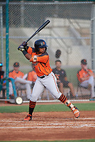 AZL Giants Orange Andrew Caraballo (1) at bat during an Arizona League game against the AZL Giants Black on July 19, 2019 at the Giants Baseball Complex in Scottsdale, Arizona. The AZL Giants Black defeated the AZL Giants Orange 8-5. (Zachary Lucy/Four Seam Images)