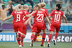 Olympique Lyonnais' Eugenie Le Sommer, Pauline Bremer, Camile Abily, Ada Hegerberg and Louisa Necib celebrate goal during UEFA Women's Champions League 2015/2016 Final match.May 26,2016. (ALTERPHOTOS/Acero)