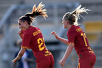 Agnese Bonfantini of AS Roma celebrates after scoring the goal of 2-2 with Amalie Thestrup <br /> Roma 8/9/2019 Stadio Tre Fontane <br /> Luisa Petrucci Trophy 2019<br /> AS Roma - Paris Saint Germain<br /> Photo Andrea Staccioli / Insidefoto
