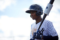 New York Yankees shortstop Jose Devers (4) on deck during an Instructional League game against the Baltimore Orioles on September 23, 2017 at the Yankees Minor League Complex in Tampa, Florida.  (Mike Janes/Four Seam Images)