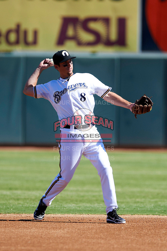 Phoenix Desert Dogs second baseman Josh Prince #8, of the Milwaukee Brewers organization, during an Arizona Fall League game against the Mesa Solar Sox at Phoenix Municipal Stadium on October 19, 2012 in Phoenix, Arizona.  Phoenix defeated Mesa 10-6.  (Mike Janes/Four Seam Images)