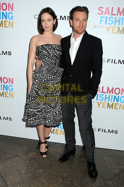 Emily Blunt and Ewan McGregor.CBS Films' U.S. Premiere of 'Salmon Fishing In The Yemen' held at The Directors Guild of America in West Hollywood, California, USA..March 5th, 2012.full length dress suit jacket shirt white black print strapless  .CAP/ADM/BP.©Byron Purvis/AdMedia/Capital Pictures.