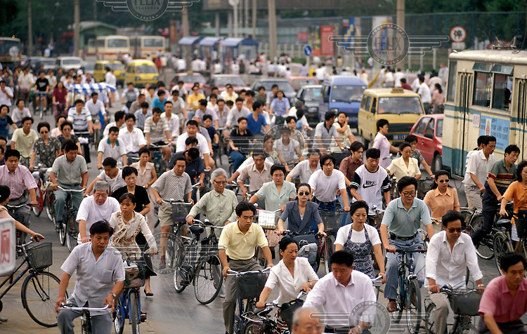 Bicycles in morning rush hour downtown.