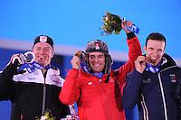 OLYMPICS: SOCHI: Medal Plaza, 15-02-2014, Alpine Skiing, Men's Super Combined Slalom, Ivica Kostelic (KRO), Sandro Viletta (SUI), Christof Innerhofer (ITA), ©photo Martin de Jong