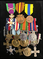 BNPS.co.uk (01202 558833)<br /> Pic: Bonningtons/BNPS<br /> <br /> Trooper Moreton's medals.<br /> <br /> The amazing story of a fearless soldier who escaped from the Nazis eight times during five years as a POW including once to save a dying friend's life can be told after his bravery medals emerged for sale.<br /> <br /> Trooper Thomas Moreton, of the 19th King's Royal Hussars, was held captive at the notorious Stalag XXB in East Prussia after being captured during the Battle of France in May 1940.<br /> <br /> The tank driver was part of a defiant rearguard helping to buy time for the mass evacuation of British Expeditionary Force soldiers at Dunkirk.<br /> <br /> After being recaptured following one of his escapes, he twice went in front of a Gestapo firing squad but emerged unscathed. On another occasion, he broke out of camp to find a doctor who would tend to his gravely ill comrade as he was being denied treatment by the camp guards.