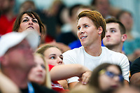 Picture by Rogan Thomson/SWpix.com - 17/07/2017 - Diving - Fina World Championships 2017 -  Duna Arena, Budapest, Hungary - Tom Daley's mum Debbie and Husband Dustin Lance Black cheer on Tom and Dan Goodfellow of Great Britain as they compete in the Men's 10m Synchro Platform Final.