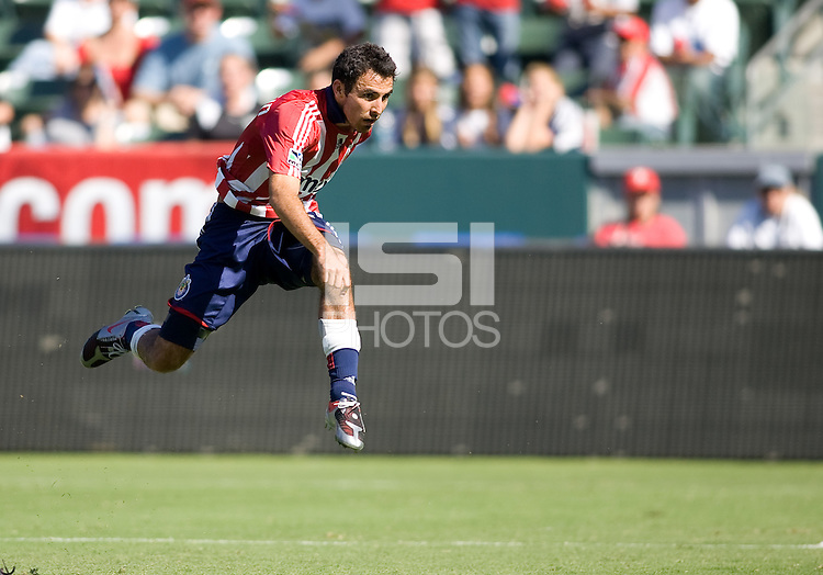 Chivas USA defender Jonathan Bornstein flying. The Houston Dynamo defeated Chivas USA 3-2 at Home Depot Center stadium in Carson, California on Sunday October 25, 2009...