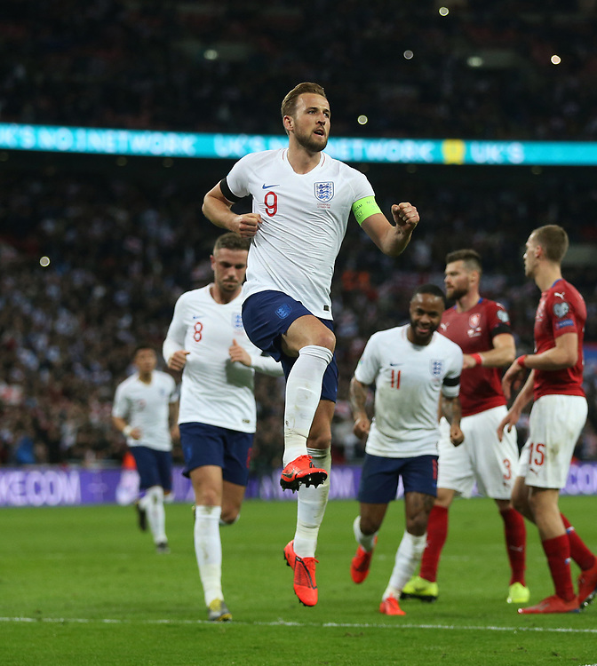 England's Harry Kane celebrates scoring his side's second goal <br /> <br /> Photographer Rob Newell/CameraSport<br /> <br /> UEFA Euro 2020 Qualifying round - Group A - England v Czech Republic - Friday 22nd March 2019 - Wembley Stadium - London<br /> <br /> World Copyright © 2019 CameraSport. All rights reserved. 43 Linden Ave. Countesthorpe. Leicester. England. LE8 5PG - Tel: +44 (0) 116 277 4147 - admin@camerasport.com - www.camerasport.com