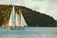 Sunset sail seen from Cinnamon Bay.St John, Virgin Islands