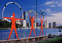 Daytime view of skyline and art sculpture along Brisbane River Brisbane Australia.