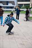 Lima, Peru. Teen (boy, Peruvian) on skateboard. No MR. ID: AL-peru.