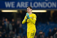 Chelsea's Thibaut Courtois applauds the fans at the final whistle <br /> <br /> Photographer Craig Mercer/CameraSport<br /> <br /> The Carabao Cup - Semi-Final 1st Leg - Chelsea v Arsenal - Wednesday 10th January 2018 - Stamford Bridge - London<br />  <br /> World Copyright &copy; 2018 CameraSport. All rights reserved. 43 Linden Ave. Countesthorpe. Leicester. England. LE8 5PG - Tel: +44 (0) 116 277 4147 - admin@camerasport.com - www.camerasport.com