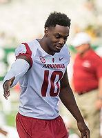 NWA Democrat-Gazette/BEN GOFF @NWABENGOFF<br /> Randy Ramsey, Arkansas defensive lineman, during warmups before the game vs Colorado State Saturday, Sept. 8, 2018, at Canvas Stadium in Fort Collins, Colo.
