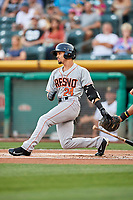 Rico Noel (24) of the Fresno Grizzlies bats against the Salt Lake Bees at Smith's Ballpark on September 3, 2017 in Salt Lake City, Utah. The Bees defeated the Grizzlies 10-8. (Stephen Smith/Four Seam Images)
