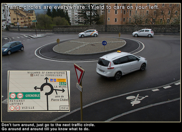 Driving in Europe. Traffic Circles.<br />