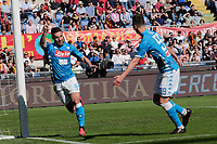 Simone Verdi of Napoli   celebrates after scores during the  italian serie a soccer match, AS Roma -  SSC Napoli       at  the Stadio Olimpico in Rome  Italy , March 31, 2019