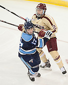 Jennifer More (Maine - 17), Lexi Bender (BC - 21) - The Boston College Eagles defeated the visiting University of Maine Black Bears 5 to 1 on Sunday, October 6, 2013, in their Hockey East season opener at Kelley Rink in Conte Forum in Chestnut Hill, Massachusetts.
