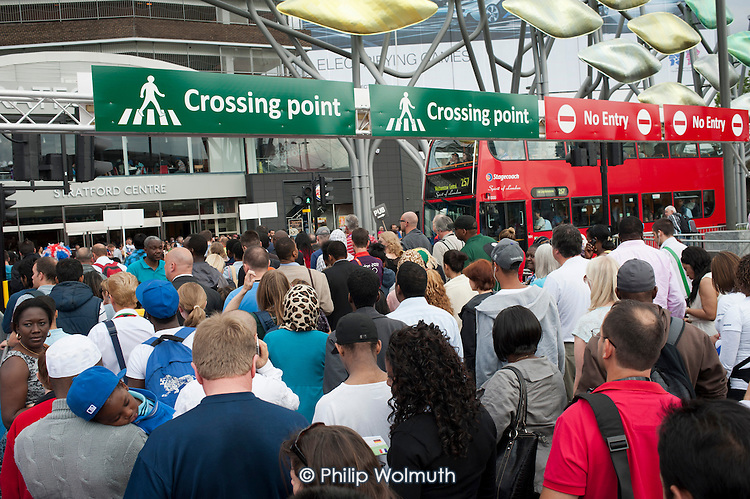 Regulated road crossing in Stratford during the London 2012 Olympic Games.