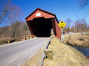 Cooley Covered Bridge in Pittsford, Vermont USA. It crosses over Furnace Brook.