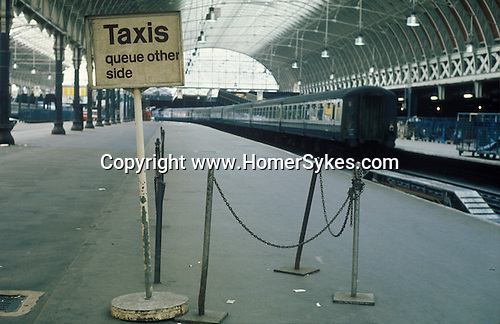 Paddington main line railways station. May 14th 1972. The first ever national train strike. No trains ran in England for the first time that day. London. UK.