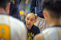 AGS coach Lindsay Tait talks to his team during the 2019 Schick AA Boys' Secondary Schools Basketball National Championships 9th place playoff between Auckland Grammar School and St John's College at the Central Energy Trust Arena in Palmerston North, New Zealand on Saturday, 5 October 2019. Photo: Dave Lintott / lintottphoto.co.nz