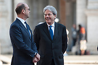 Rome, Italy, March 25,2017. Italian Minister of Foreign Affairs  Angelino Alfano (L) and Italian Prime Minister Paolo Gentiloni during arrivals for an EU summit at the Palazzo dei Conservatori in Rome. EU leaders gather in Rome to celebrate the 60th anniversary of the EU's founding treaty.