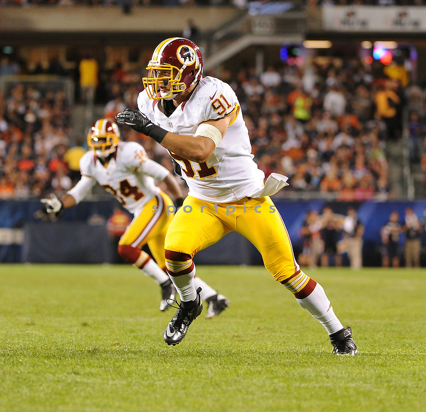 RYAN KERRIGAN (91), of the Washington Redskins, in action during the Redskins game against the Chicago Bears on August 18, 2012 at Soldier Field in Chicago, IL. The Bears beat the Redskins 33-31.