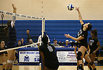 Marymount's Erin Allison hits in a college volleyball game, in Arlington, Vir., on Saturday, Nov. 1, 2014.<br /> Photo by Cathleen Allison