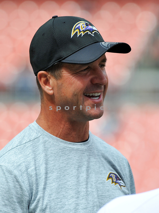 CLEVELAND, OH - JULY 18, 2016: Head coach John Harbaugh of the Baltimore Ravens stands on the field prior to a game against the Cleveland Browns on July 18, 2016 at FirstEnergy Stadium in Cleveland, Ohio. Baltimore won 25-20. (Photo by: 2017 Nick Cammett/Diamond Images)  *** Local Caption *** John Harbaugh(SPORTPICS)