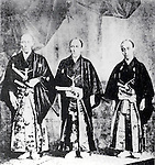 1860 - The Japanese Embassy to the United States, (L to R) Ambassador Shinmi Masaoki, Vice-Ambassador Muragaki Norimasa, and Observer Oguri Tadamasa. They ratified Treaty of Amity and Commerce between United States to Japan. (Photo by Kingendai Photo Library/AFLO)