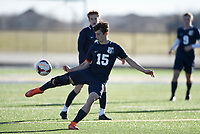 NWA Democrat-Gazette/CHARLIE KAIJO Bentonville West High School defender Devin Pearson (15) kicks during a soccer game, Friday, March 15, 2019 at Bentonville West in Centerton.
