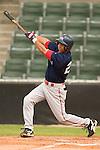 Greenville shortstop Christian Lara follows through on his swing versus Kannapolis at Fieldcrest Cannon Stadium in Kannapolis, NC, Sunday, June 4, 2006.  Greenville defeated Kannapolis 7-6.