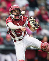 NWA Democrat-Gazette/BEN GOFF @NWABENGOFF<br /> Casey Opitz, Arkansas catcher throws to first for an out in the 1st inning vs LSU Thursday, May 9, 2019, at Baum-Walker Stadium in Fayetteville.