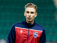 12th February 2020; Easter Road, Edinburgh, Scotland; Scottish Premiership Football, Hibernian versus Ross County; Oli Shaw of Ross County  inspects the pitch before kick off