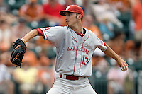 Pitcher Dillon Overton #13 of the Oklahoma Sooners delivers against the Texas Longhorns in NCAA Big XII baseball on May 1, 2011 at Disch Falk Field in Austin, Texas. (Photo by Andrew Woolley / Four Seam Images)