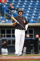 Quad Cities River Bandits designated hitter Bryan Muniz (12) at bat during the first game of a doubleheader against the Wisconsin Timber Rattlers on August 19, 2015 at Modern Woodmen Park in Davenport, Iowa.  Quad Cities defeated Wisconsin 3-2.  (Mike Janes/Four Seam Images)